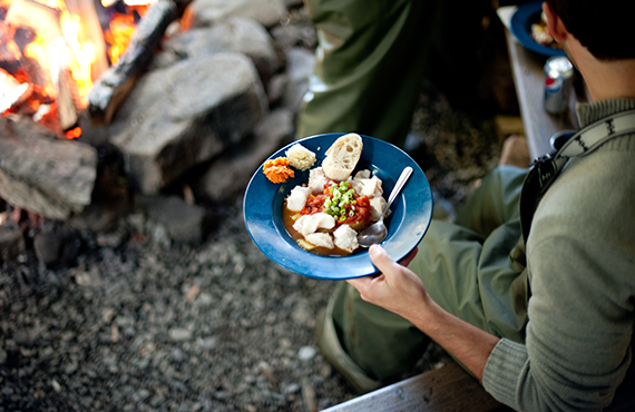 Wilderness Dining at our private Wilderness camp spot