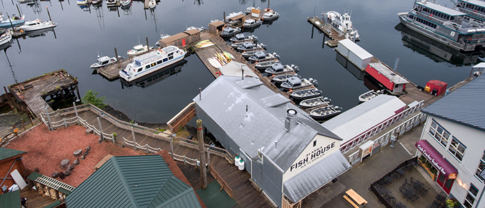 drone shot of the Fish House and Baranof Marina